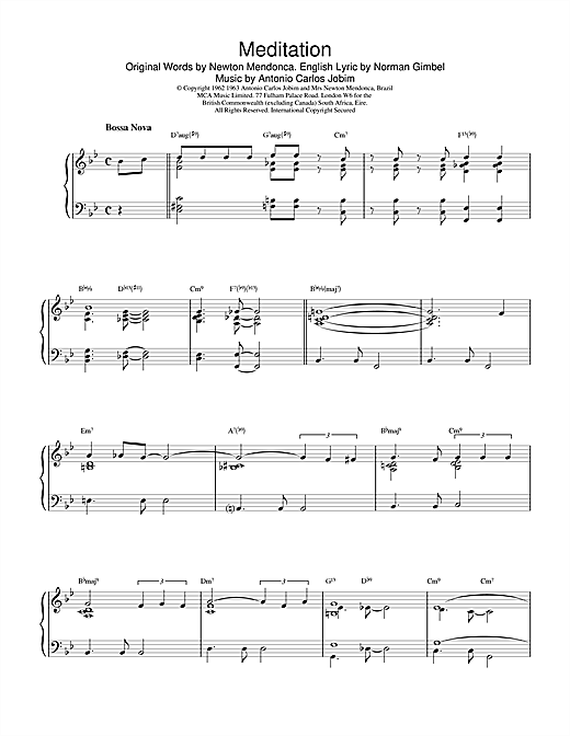 Gerry Mulligan Meditation sheet music notes and chords. Download Printable PDF.