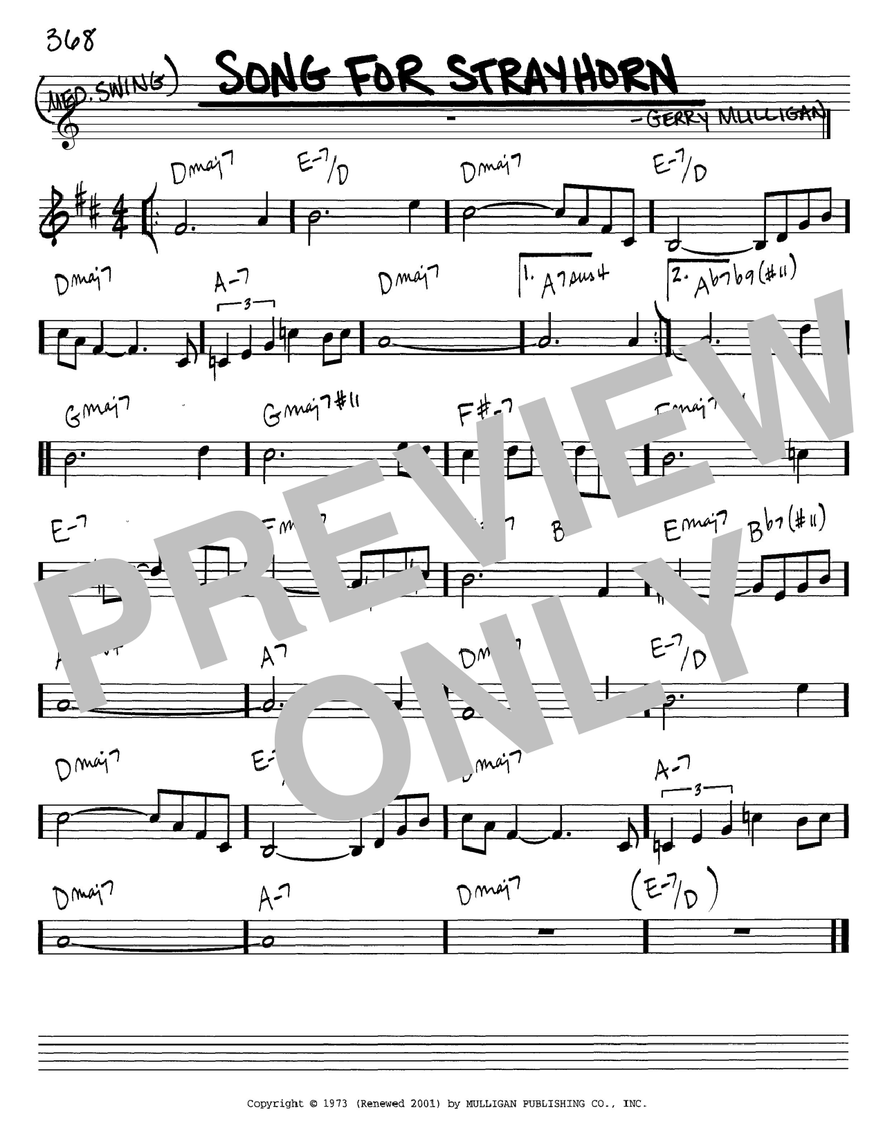 Gerry Mulligan Song For Strayhorn sheet music notes and chords