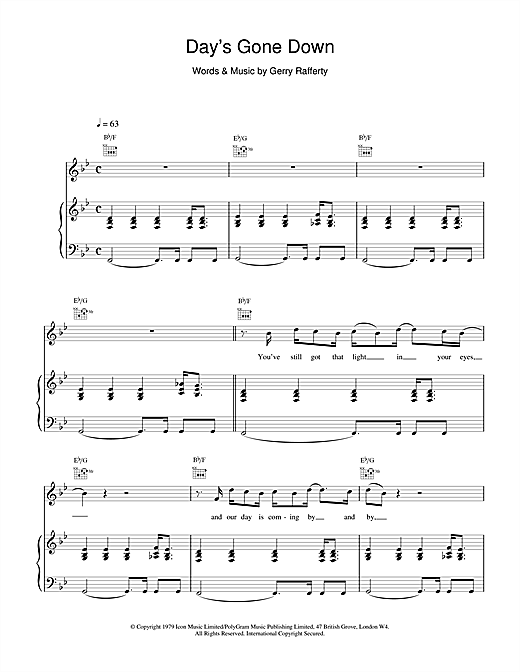 Gerry Rafferty Day's Gone Down sheet music notes and chords