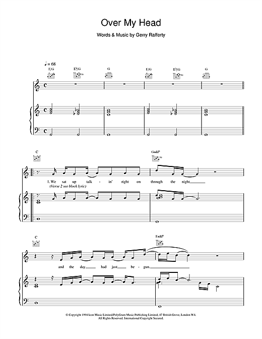 Gerry Rafferty Over My Head sheet music notes and chords