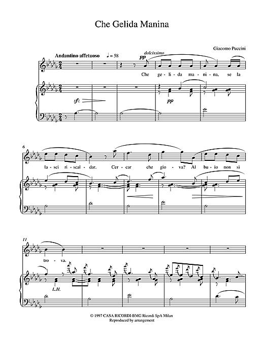 Giacomo Puccini Che Gelida Manina sheet music notes and chords