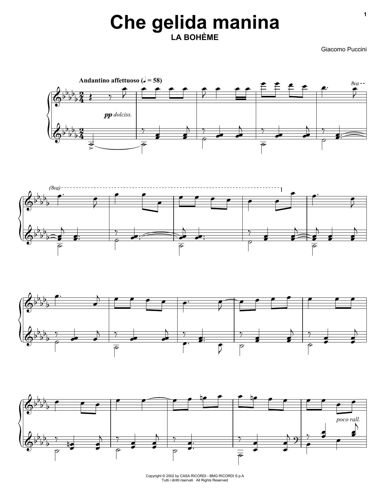 Giacomo Puccini Che gelida manina from La Bohème sheet music notes and chords. Download Printable PDF.