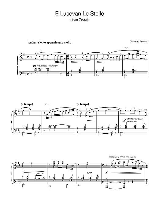 Giacomo Puccini E Lucevan Le Stelle (from Tosca) sheet music notes and chords