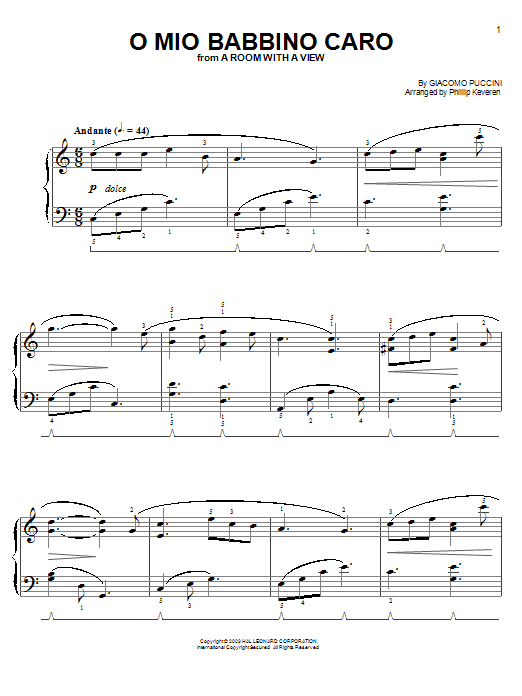 Giacomo Puccini O Mio Babbino Caro sheet music notes and chords. Download Printable PDF.
