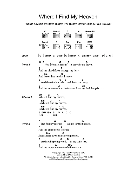 Gigolo Aunts Where I Find My Heaven sheet music notes and chords. Download Printable PDF.