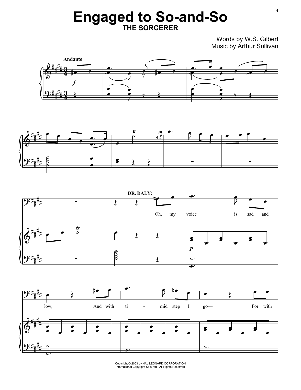 Gilbert & Sullivan Engaged To So-And-So sheet music notes and chords. Download Printable PDF.