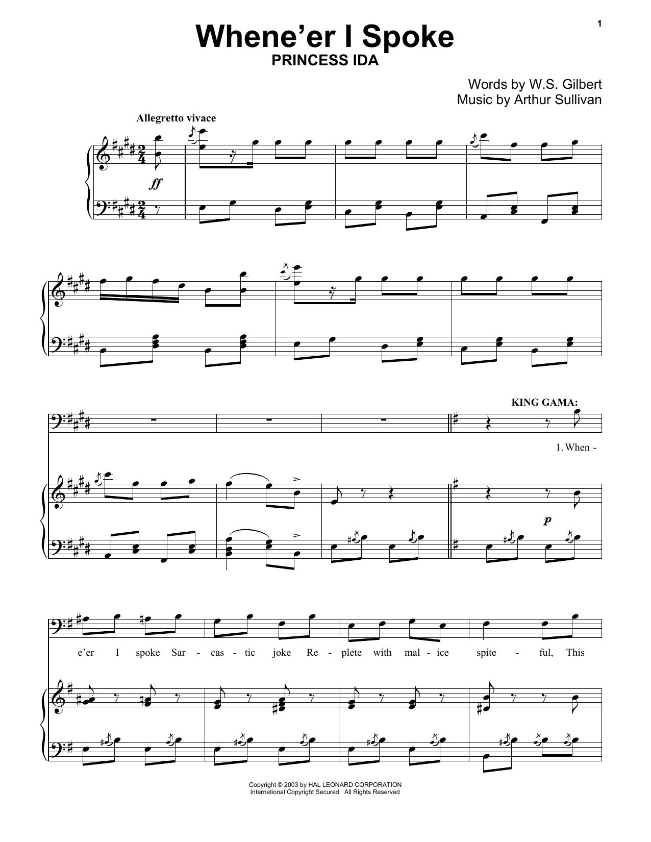Gilbert & Sullivan When E'er I Spoke sheet music notes and chords. Download Printable PDF.