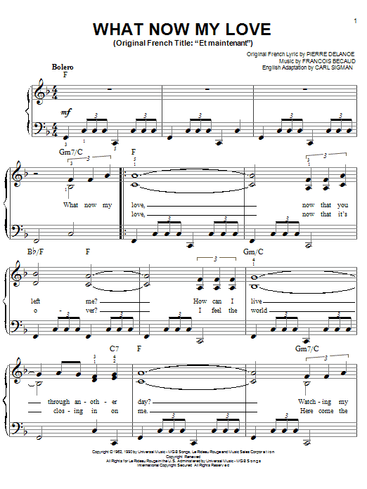 Gilbert Becaud What Now My Love sheet music notes and chords. Download Printable PDF.
