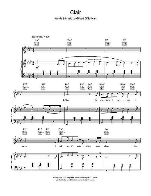 Gilbert O'Sullivan Clair sheet music notes and chords. Download Printable PDF.