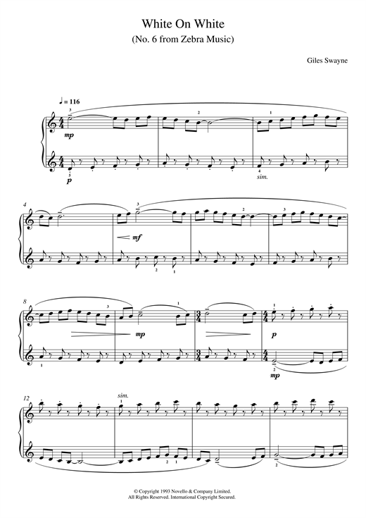 Giles Swayne White On White (No. 6 from Zebra Music) sheet music notes and chords