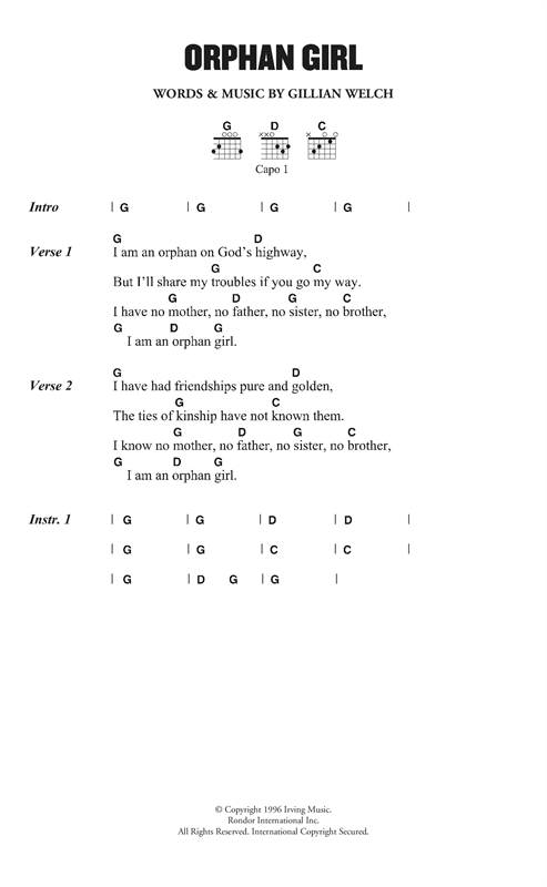 Gillian Welch Orphan Girl sheet music notes and chords. Download Printable PDF.