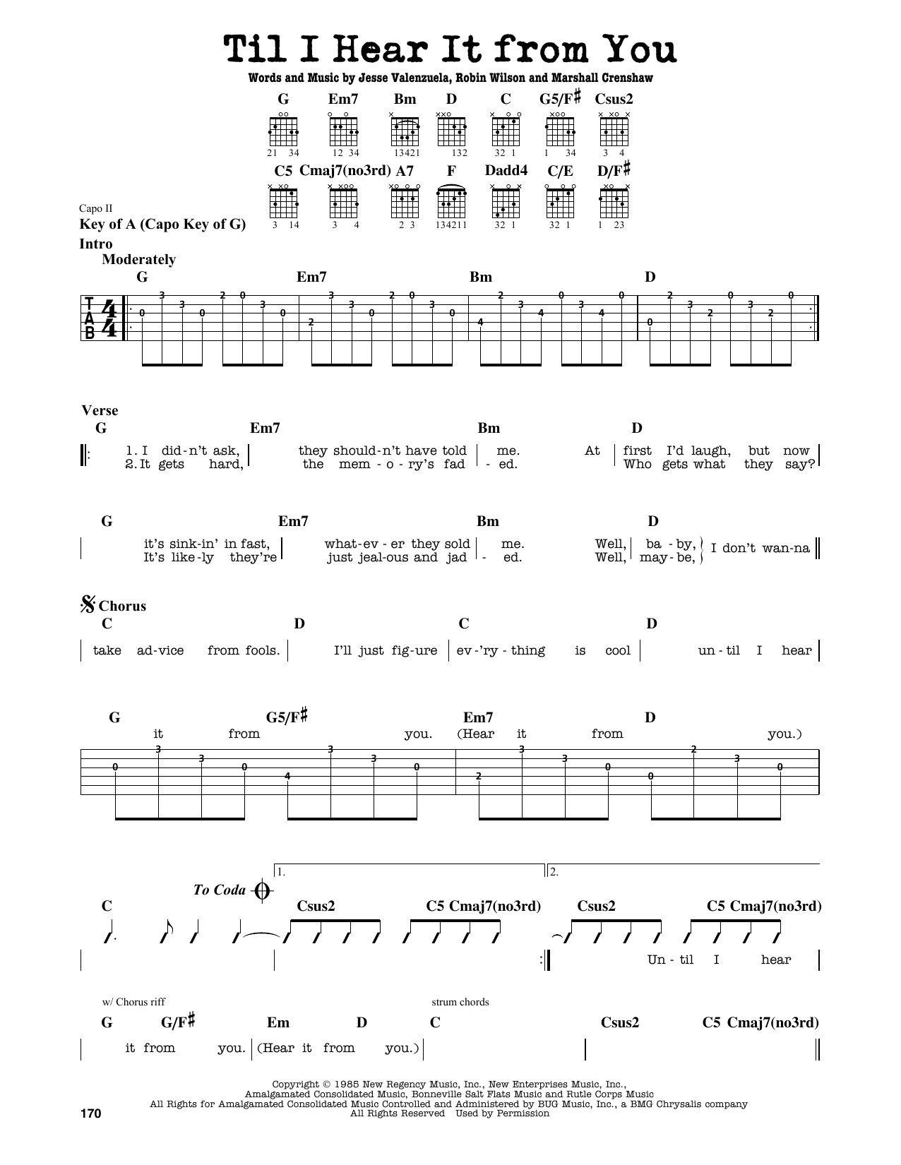 Gin Blossoms Til I Hear It From You sheet music notes and chords. Download Printable PDF.