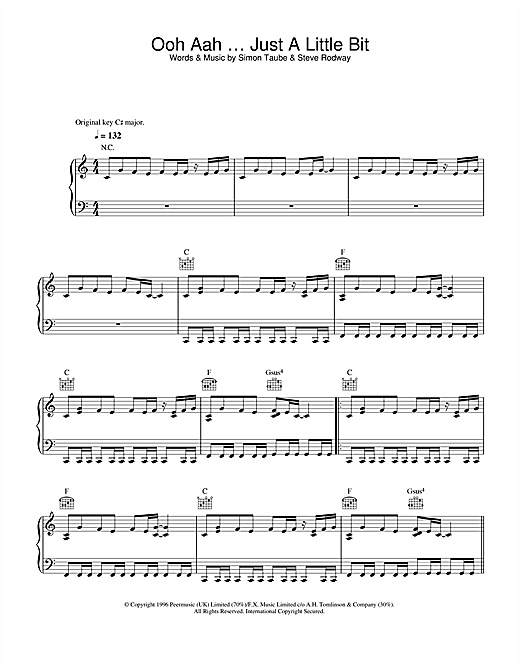 Gina G Ooh Aah Just A Little Bit sheet music notes and chords. Download Printable PDF.