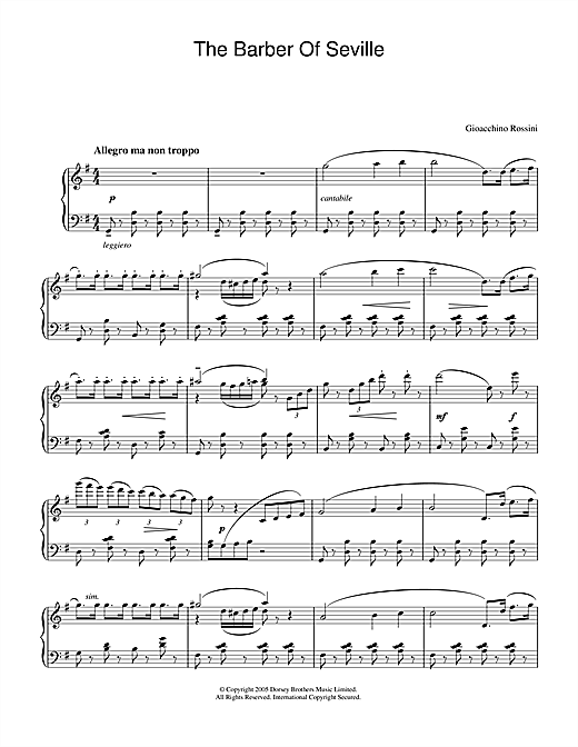 Gioachino Rossini The Barber Of Seville sheet music notes and chords. Download Printable PDF.
