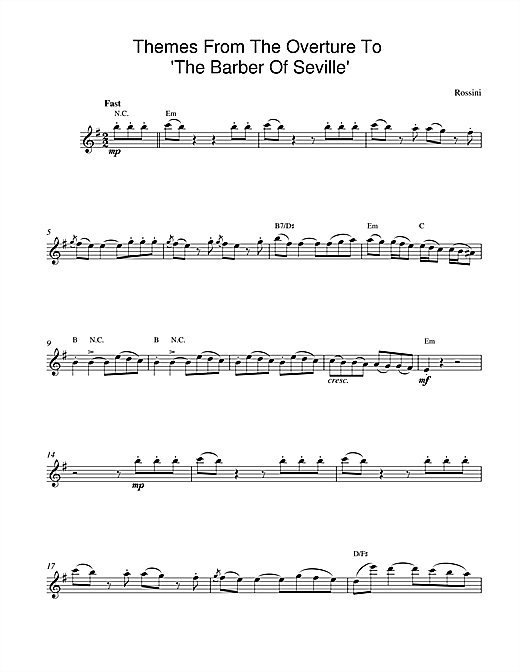 Gioachino Rossini The Barber Of Seville Overture sheet music notes and chords. Download Printable PDF.