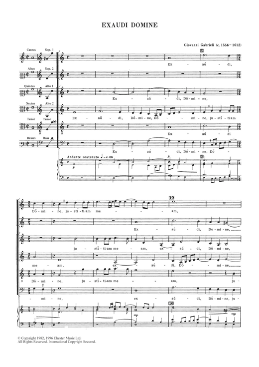 Giovanni Gabrieli Exaudi Domine sheet music notes and chords. Download Printable PDF.