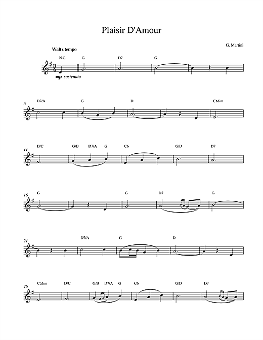 Giovanni Martini Plaisir d'Amour sheet music notes and chords. Download Printable PDF.