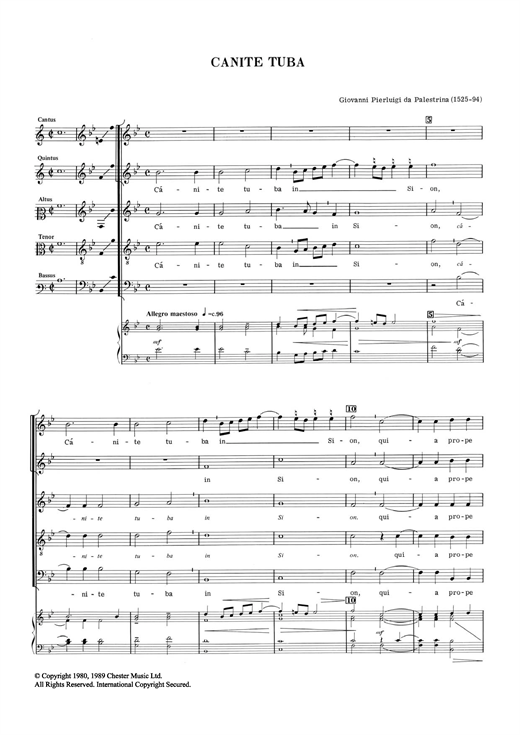 Giovanni Palestrina Canite Tuba sheet music notes and chords. Download Printable PDF.