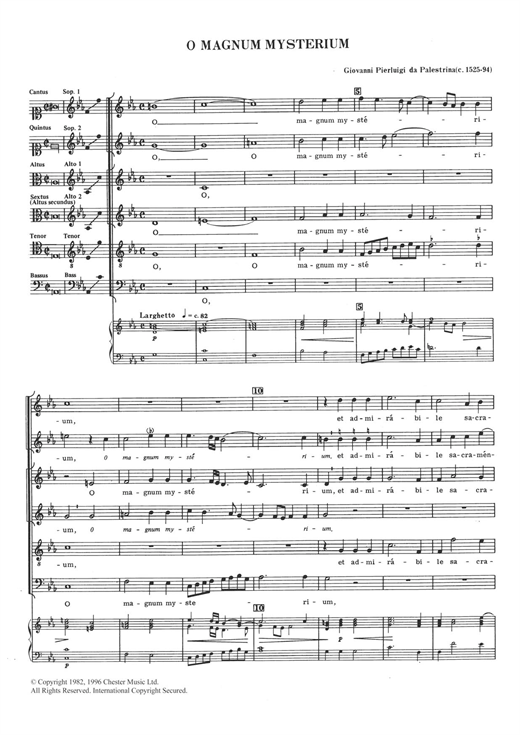 Giovanni Palestrina O Magnum Mysterium sheet music notes and chords. Download Printable PDF.