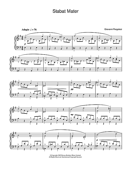 Giovanni Pergolesi Stabat Mater sheet music notes and chords. Download Printable PDF.