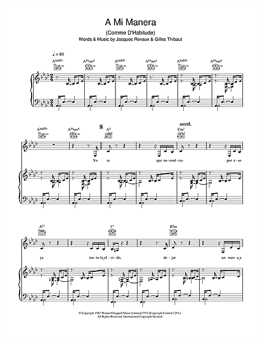 Gipsy Kings A Mi Manera (Comme D'Habitude) sheet music notes and chords. Download Printable PDF.