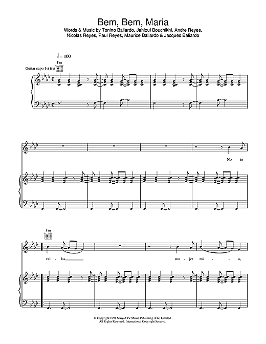 Gipsy Kings Bem Bem Maria sheet music notes and chords. Download Printable PDF.