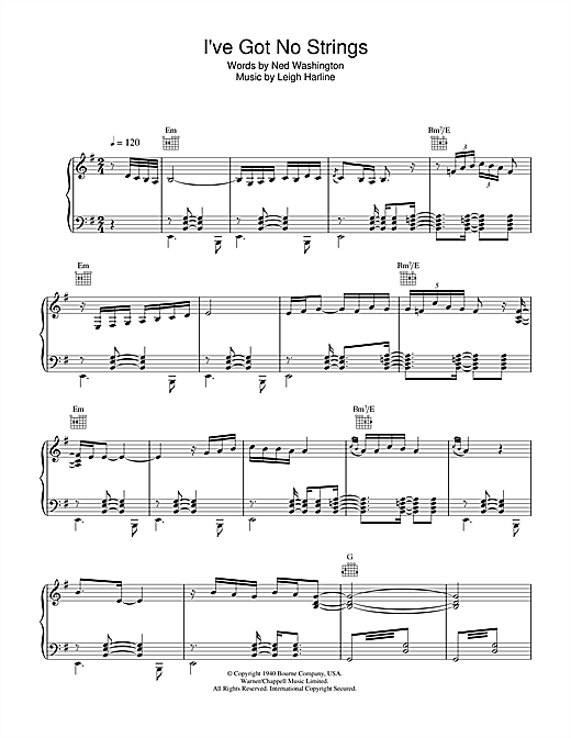 Gipsy Kings I've Got No Strings sheet music notes and chords. Download Printable PDF.