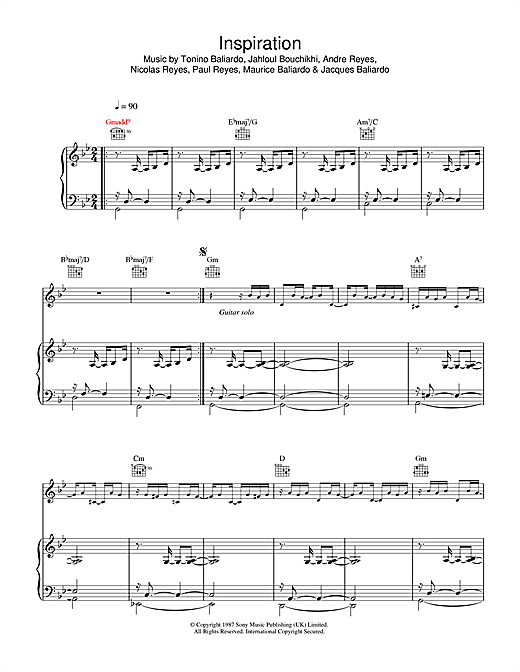 Gipsy Kings Inspiration sheet music notes and chords. Download Printable PDF.