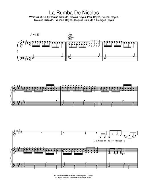 Gipsy Kings La Rumba De Nicolas sheet music notes and chords. Download Printable PDF.