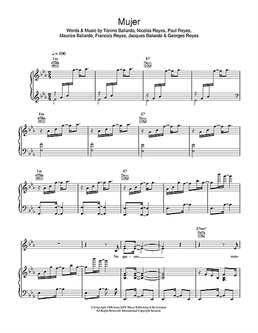 Gipsy Kings Mujer sheet music notes and chords. Download Printable PDF.