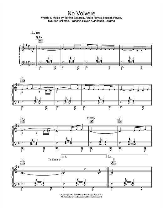 Gipsy Kings No Volvere sheet music notes and chords. Download Printable PDF.