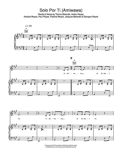 Gipsy Kings Solo Por Ti (Amiwawa) sheet music notes and chords. Download Printable PDF.