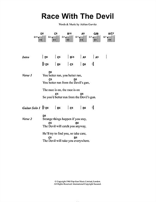 Girlschool Race With The Devil sheet music notes and chords. Download Printable PDF.