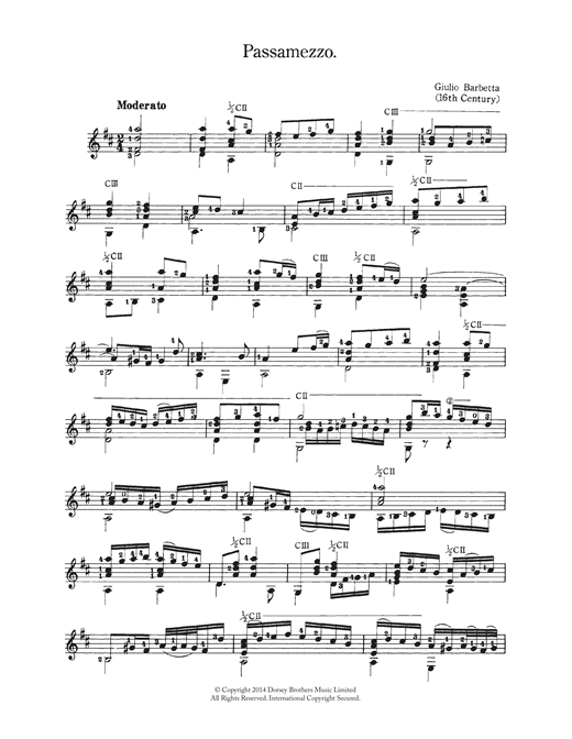 Giulio Barbetta Passamezzo sheet music notes and chords. Download Printable PDF.