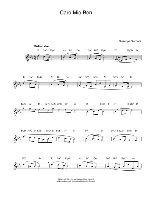 Giuseppe Giordani Caro Mio Ben sheet music notes and chords