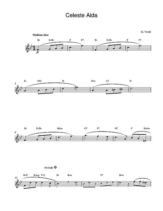 Giuseppe Verdi Celeste Aida sheet music notes and chords