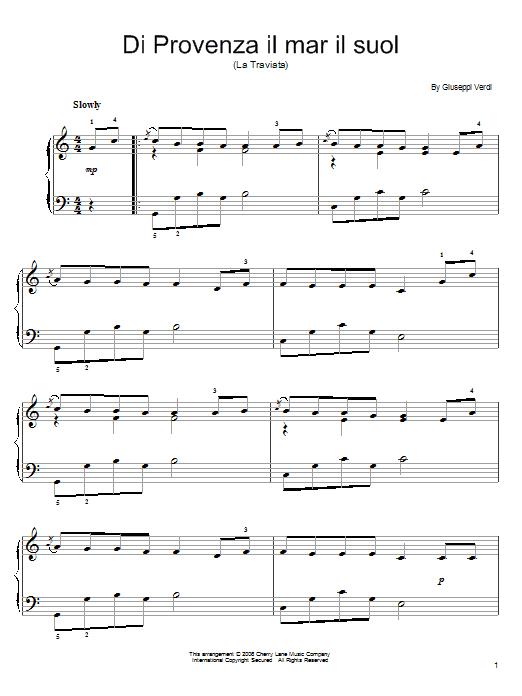 Giuseppe Verdi Di Provenza Il Mar, Il Suol sheet music notes and chords