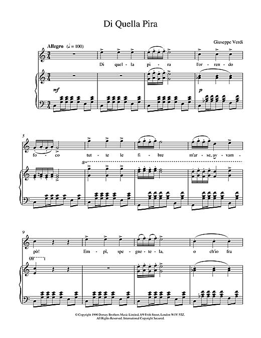 Giuseppe Verdi Di Quella Pira sheet music notes and chords