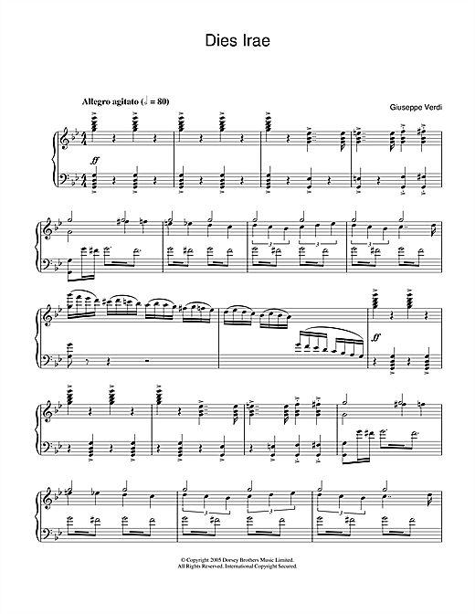 Giuseppe Verdi Dies Irae (from Requiem) sheet music notes and chords. Download Printable PDF.