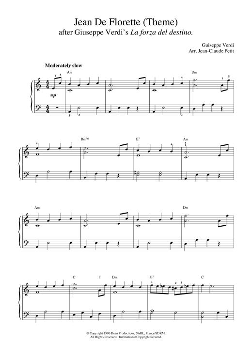 Giuseppe Verdi Jean De Florette sheet music notes and chords