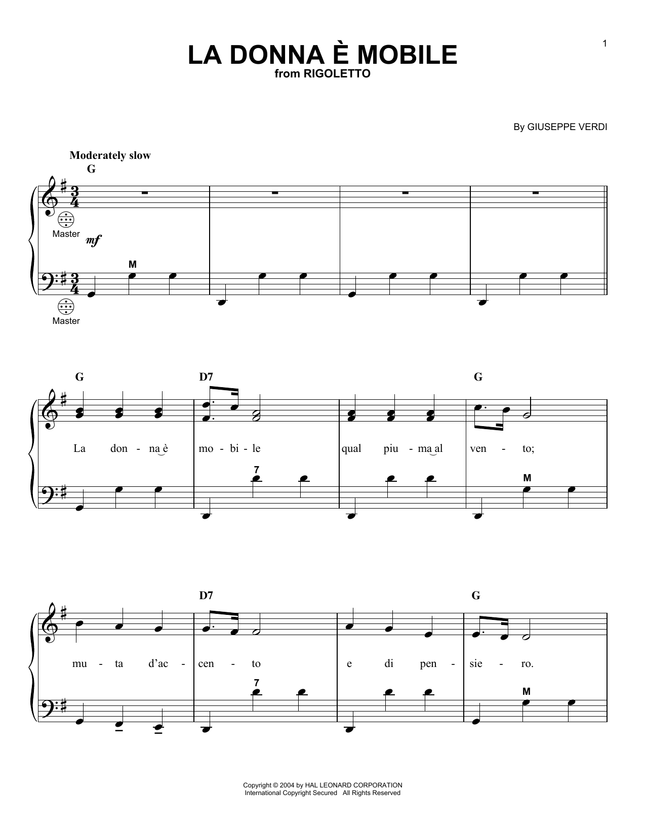 Giuseppe Verdi La donna e mobile sheet music notes and chords. Download Printable PDF.