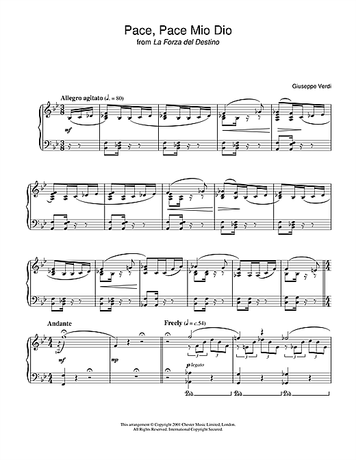 Giuseppe Verdi Pace, Pace Mio Dio from 'la Forza Del Destino' sheet music notes and chords