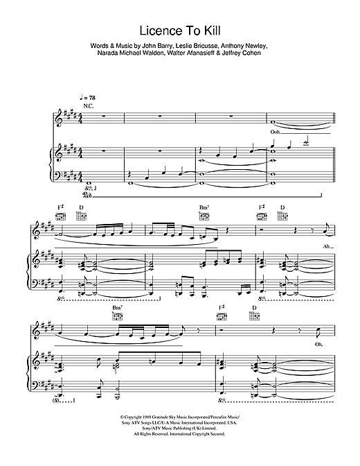 Gladys Knight Licence To Kill sheet music notes and chords. Download Printable PDF.