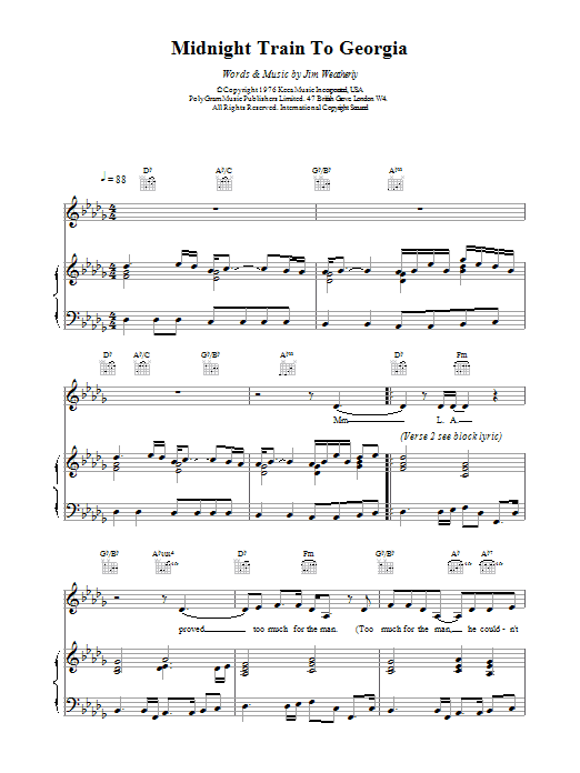 Gladys Knight & The Pips Midnight Train To Georgia sheet music notes and chords. Download Printable PDF.
