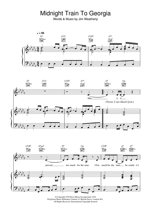Gladys Knight & The Pips Midnight Train To Georgia sheet music notes and chords