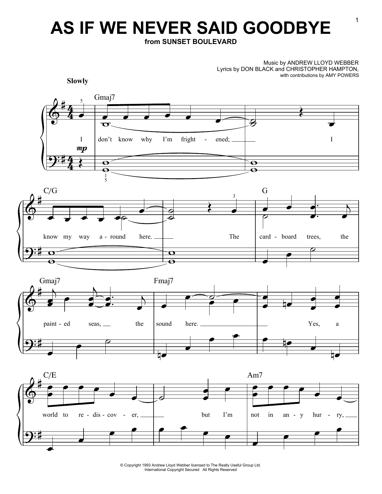 Glee Cast As If We Never Said Goodbye sheet music notes and chords