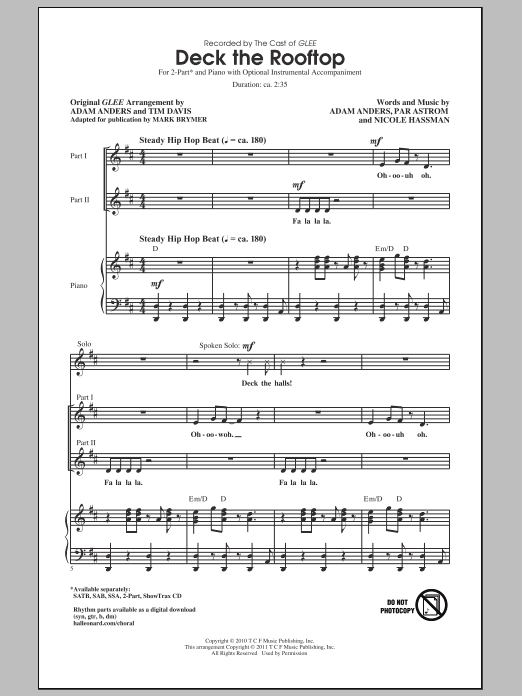Glee Cast Deck The Rooftop (arr. Mark Brymer) sheet music notes and chords. Download Printable PDF.