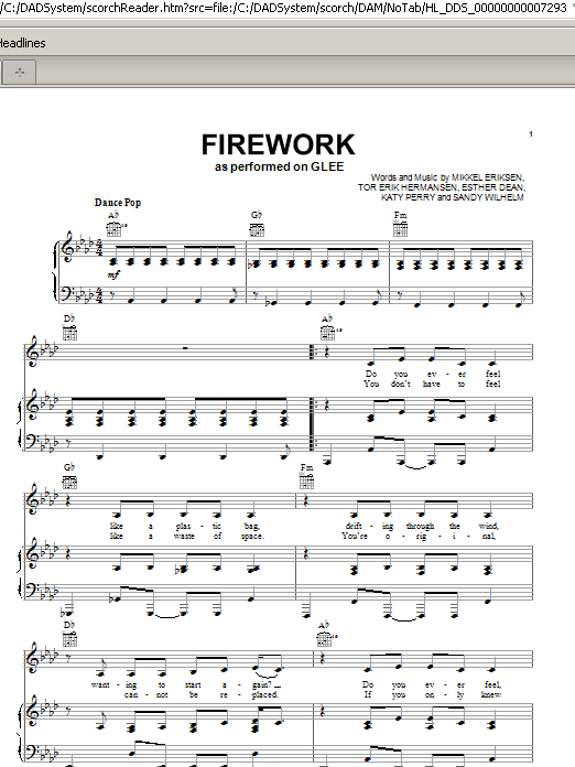 Glee Cast Firework sheet music notes and chords. Download Printable PDF.