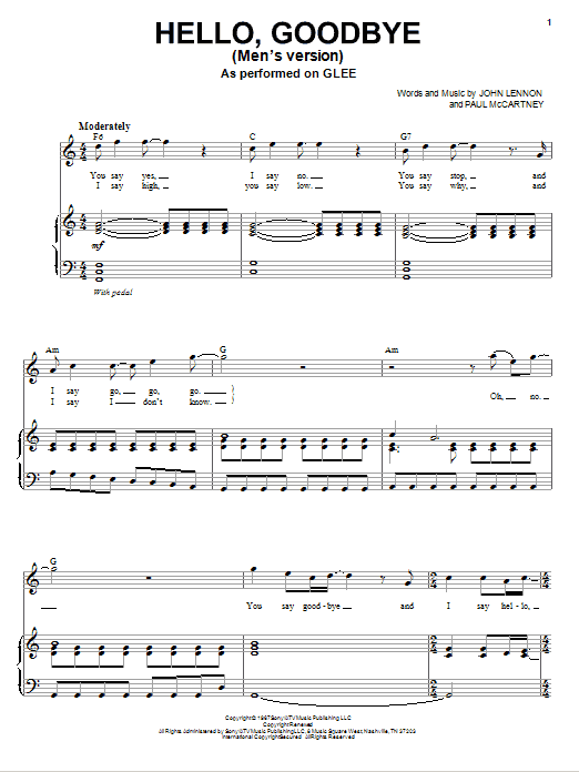 Glee Cast Hello, Goodbye sheet music notes and chords. Download Printable PDF.