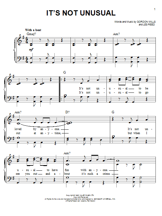 Glee Cast It's Not Unusual sheet music notes and chords. Download Printable PDF.